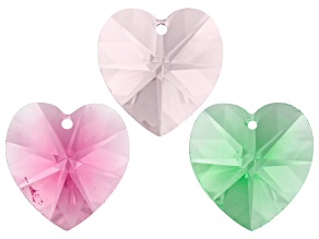 Swarovski(TM) Crystal Set of 3 Heart Beads in Assorted Colors