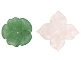 Assorted Gemstone Carved Flower Pendant Set of 5 in assorted sizes