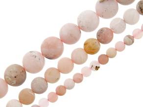 Frosted Pink Opal appx 4, 6 & 8mm Round Bead Strand appx 15-16