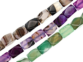 Agate Faceted appx 11x16mm Drum Shape Bead Strand Set of 3 Assorted Colors appx 15-16