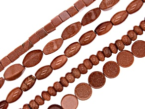 Goldstone Glass Bead Strand Set of 5 in assorted shapes appx 15-16