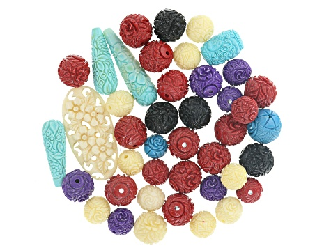 Carved Floral Bead Parcel appx 1/4 lb includes assorted shapes, colors and sizes