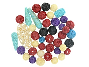 1/4 lb Carved Rose Bead Parcel in assorted colors and sizes