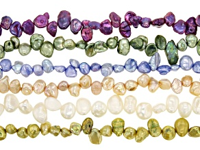Cultured Freshwater Pearl Pear Nugget Bead Strand Set of 6 in assorted colors appx 14-15