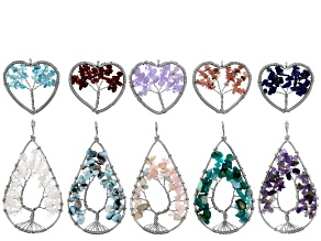 Assorted Gemstone Heart and Pear Shape Focal Bead Set of 10 in Silver Tone
