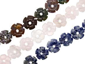 Jasper and Agate Mix, Rose Quartz & Sodalite Carved Flower Bead Strand Set of 3 appx 15-16""