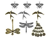 Assorted Animal & Insect Focal Bead Set of 9 in Antique Silver & Gold Tone