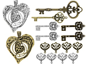 Heart & Key Focal Bead Set of 16 in Antique Silver & Brass Tone