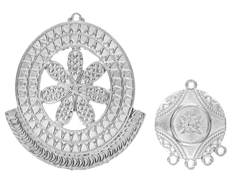 Fancy Earring/ Pendant Component in Antique Silver & Gold Tone