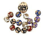 Enamel Flower Texture Round Beads in Gold Tone in Assorted Colors 16 Pieces Total
