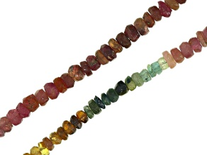 Multi-Color Tourmaline Faceted Rondelle appx 3-4mm Bead Strand Set of 2 appx 18