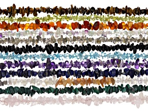 Assorted Gemstone Chip Bead Strand Set of 12 appx 34