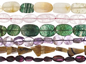 Assorted Gemstone Bead Strand Set of 6 in Mixed Shapes appx 13-14