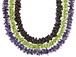 Nugget Bead Strand Set of 3 appx 7x3mm in Amethyst, Peridot & Red Garnet appx 32
