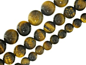 Tiger's Eye Round appx 6, 8 & 10mm Bead Strand Set of 3 appx 16""