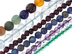 Multi-Stone Round appx 3-8mm Bead Strand Set of 6 appx 13-14