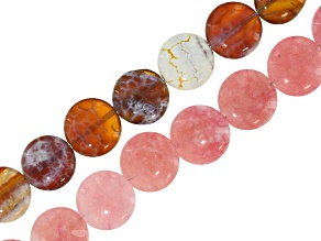 Quench Cracked Pink Quartz & Agate appx 14-15mm Coin Shape Bead Strand Set of 2 appx 18