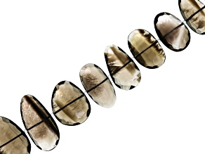 Smokey Quartz Appx 10x13-16x30mm Rose Cut Fancy Oval Bead Strand Appx 16