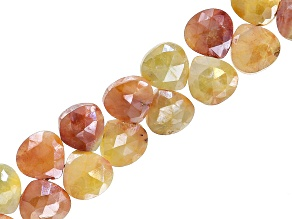 Iridescent Coated Prehnite Appx 7mm Faceted Pear Shape Bead Strand Appx 8