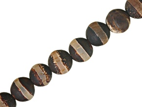 Matte DZI Inspired Quench Crackled Brown Agate Line Pattern appx 8mm Round Bead Strands appx 16