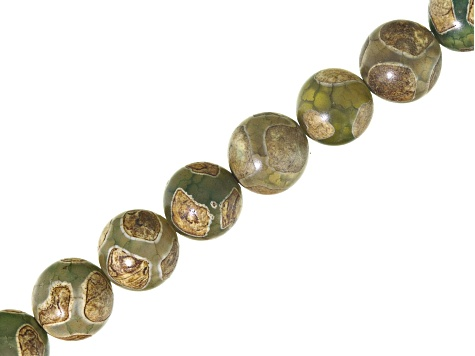 Cool DZI Inspired Quench Crackled Agate Circle Pattern Warm Tone appx 8mm Round Bead Strand appx 16