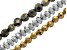 Hematine Faceted Round, Rondelle & Coin Shape Bead Strands Set of 3 appx 16
