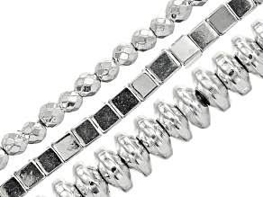 Hematine Cube, Faceted Round & Rondelle Bead Strand Set of 3 in Silver Tone appx 15-16""