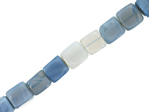 Blue Opal Shaded Graduated appx 6-8mm Cube Shape Bead Strand appx 15-16""