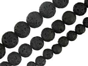 Black Lava Round Bead Strand in appx 6, 8 & 10mm Set of 3 appx 16