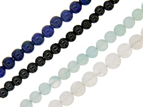 Multi-Gemstone Round appx 3mm Bead Strand Set of 4 appx 15-16