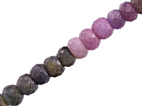 Multi-Color Sapphire Graduated Faceted Rondelle Shape appx 5-9mm Bead Strand appx 16""