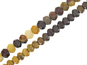 Mookaite Faceted Rondelle Bead Strand Set of 2 appx 2 & 3mm appx 15-16