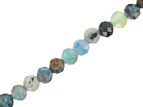Chrysocolla in Matrix Faceted Round appx 3mm Bead Strand appx 15-16