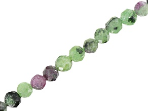 Ruby and Zoisite Mixed Faceted Round appx 3mm Bead Strand appx 15-16
