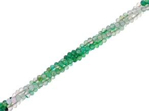 Green Chalcedony Shaded Twisted 3 Line Faceted Rondelle appx 2mm Bead Strand appx 17-18