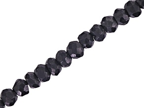 Black Tourmaline Faceted Round appx 3-5mm Bead Strand appx 15-16