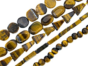Tiger's Eye & Tiger Iron Mix Bead Strand Set of 5 in Assorted Shapes appx 15-16
