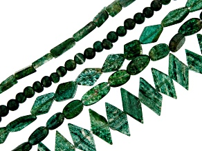 Green Aventurine Bead Strand Set of 5 in Assorted Shapes appx 15-16