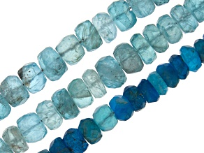 Sky Blue & Neon Apatite Faceted Rondelle Bead Strands Set of 3 appx 16
