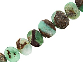 Chrysoprase in Matrix Faceted Oval appx 11x8-15x12mm Bead Strand appx 16