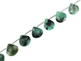 Sakota Emerald Graduated Faceted appx 10x9-13x12mm Wide Pear Shape Bead Strand appx 15-16