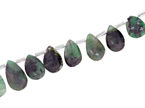Sakota Emerald Graduated Faceted appx 10x6-17X10mm Pear Shape Bead Strand appx 15-16