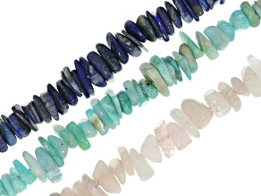 Smooth Chip Strand Set of 3 Appx 8-12mm: Lapis Lazuli, Amazonite, And Morganite appx 15-16