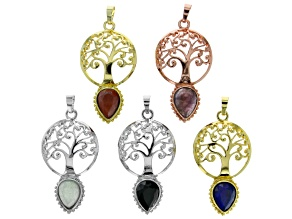 Multi-Gemstone Tree of Life Focal Pendant Set of 5 appx 27x44mm Set in 3 Tones