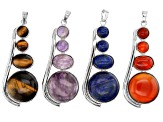 Multi-Gemstone Focal Pendant Set of 4 appx 27x59mm in Silver Tone with Bail appx 8x2mm