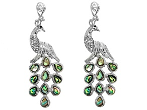 Abalone Shell Peacock Focal Pendant Set of 2 appx 26x70mm in Silver Tone