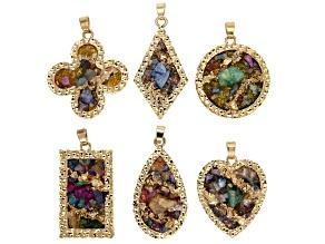 Multi-Color Druzy Quartz in Gold Tone & Assorted Shapes