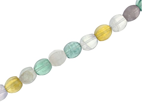 Multi-Fluorite Faceted Drum appx 8x10mm Bead Strand appx 15-16