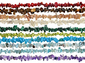 GEMSTONE CHIP STRAND SET OF 10 IN ASSORTED STONES APPX 33-34