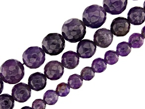 Amethyst Faceted Round appx 6, 8 & 10mm Bead Strand Set of 3 appx 15-16